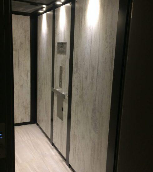 Elevator Honeycomb Ceiling | Wooden Floor | LED Lighting