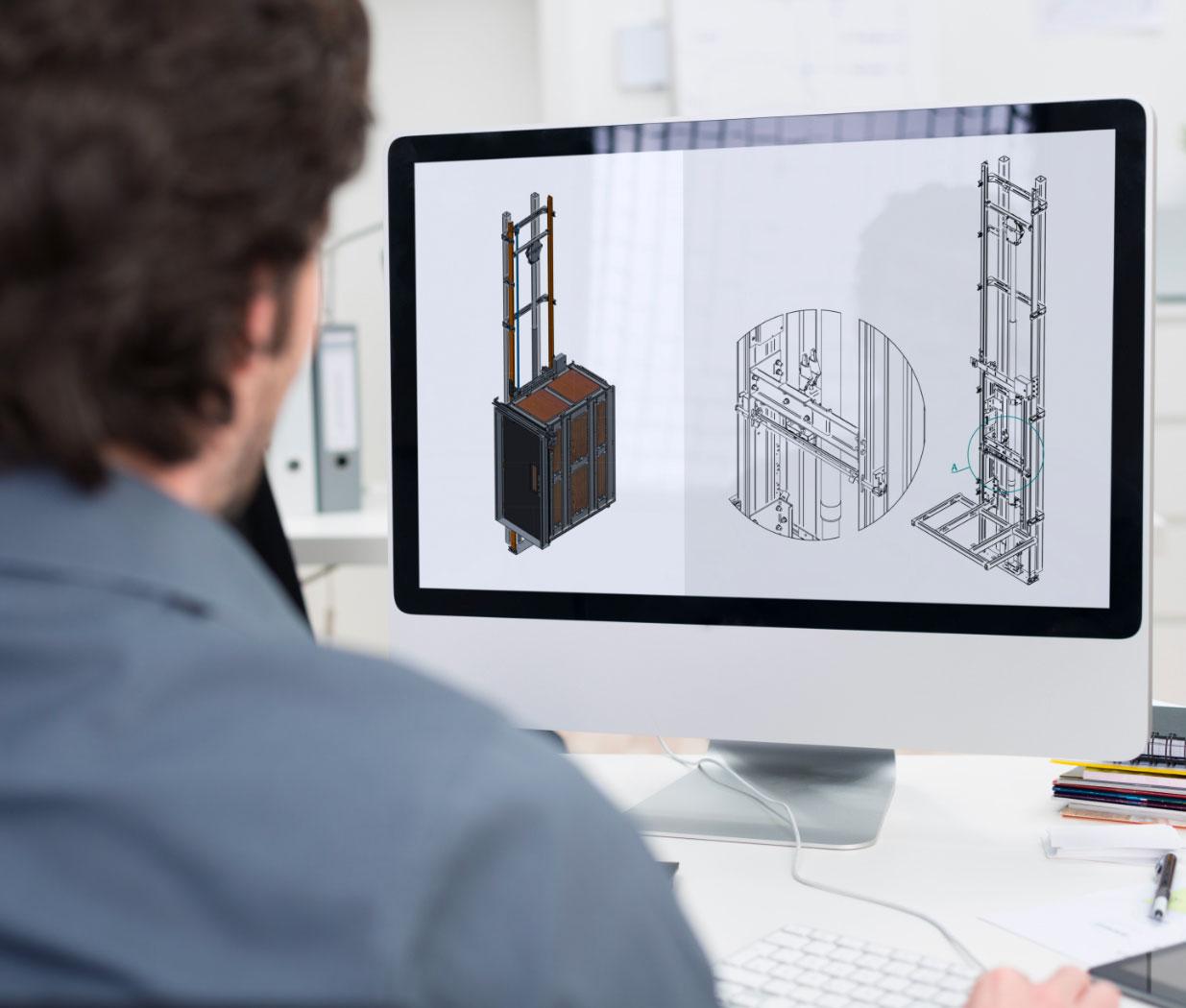 Dessin 3D | Transport vertical | Conception d'ascenseurs